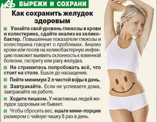рекомендации для желудка